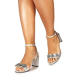 Faith - Silver 'Dom-zal' mid block heel ankle strap sandals