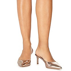 Faith - Gold 'Cashughes' mid stiletto heel mules