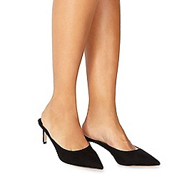 Faith - Black suedette 'Cashughes' mid stiletto heel mules