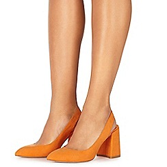 Faith - Orange suedette 'Craig' high block heel slingbacks