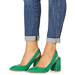 Faith - Green suedette 'Craig' high block heel slingbacks