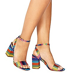Faith - Multi-coloured satin 'Dance' high block heel ankle strap sandals