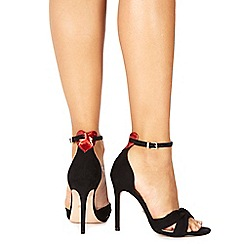 Faith - Black suedette 'Liv' high stiletto heel ankle strap sandals
