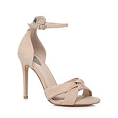 Faith - Natural suedette 'Liv' high stiletto heel ankle strap sandals