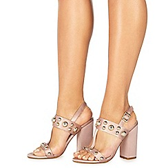 Faith - Natural 'Lozza' high block heel ankle strap sandals
