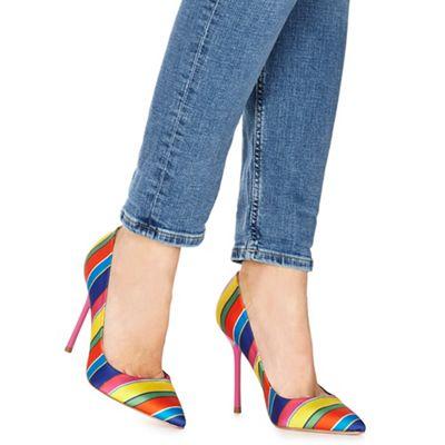 Faith - Multi-coloured 'Chlo Stripe' high stiletto heel pointed shoes