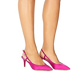 Faith - Dark pink satin 'Casa' mid kitten heel slingbacks