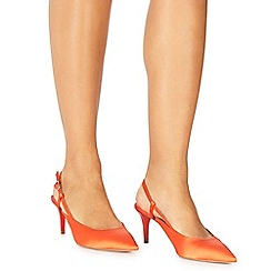 Faith - Orange satin 'Casa' mid kitten heel slingbacks