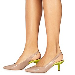 Faith - Natural patent 'Caroline' mid kitten heel slingbacks