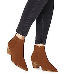 Faith - Tan suede 'Bestern' mid block heel ankle boots