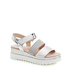 Call It Spring - Silver 'Yboreni' mid flatform heel ankle strap sandals