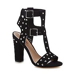 Call It Spring - Black suedette 'Aferiwien' high block heel T-bar sandals