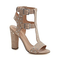 Call It Spring - Taupe suedette 'Aferiwien' high block heel T-bar sandals