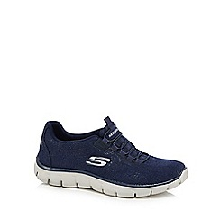 Skechers - Navy knit 'Empire Spring Glow' slip-on trainers
