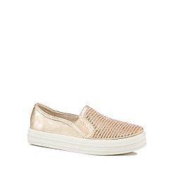 Skechers - Gold 'Shiny Up' slip-on trainers