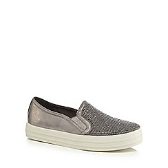 Skechers - Grey 'Shiny Up' slip-on trainers