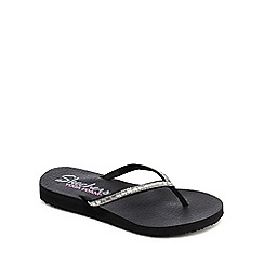 Skechers - Black diamante embellished 'Meditation Desert Princess' flip flops