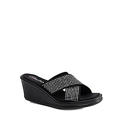 Skechers - Black diamante embellished 'Rumblers Metal Mama' mid wedge heel sandals