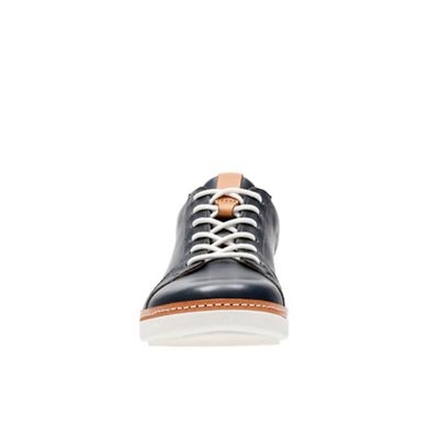 Clarks - Navy leather 'Amberlee Rosa' trainers