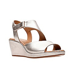 Clarks - Gold leather 'Un Plaza Sling' mid wedge heel sandals