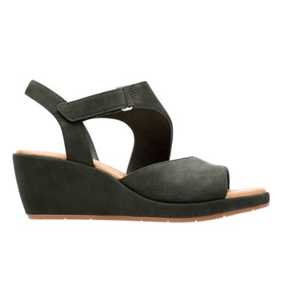 Black nubuck 'Un Plaza Sling' mid wedge heel sandals latest online nSLU2yMeXU