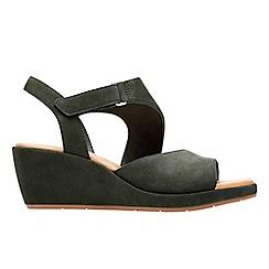 49eaa3f3de2 Clarks - Black nubuck  Un Plaza Sling  mid wedge heel sandals