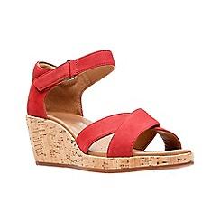 Clarks - Red nubuck 'Un Plaza Cross' mid wedge heel peep toe sandals