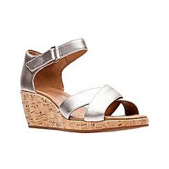 860d3ca58 Clarks - Gold leather  Un Plaza Cross  mid wedge heel peep toe sandals