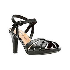 Clarks - Black leather 'Adriel Wavy' high stiletto heel peep toe sandals