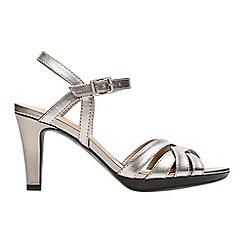 Clarks - Metallic leather 'Adriel Wavy' high heel sandals