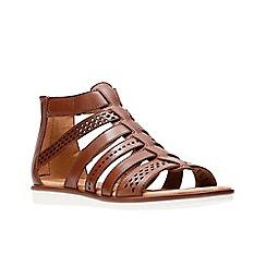 Clarks - Tan leather 'Kele Lotus' gladiator sandals
