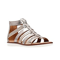 Clarks - Metallic leather \u0027Kele Lotus\u0027 gladiator sandals