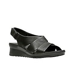 6c2e900402f Clarks - Black  Caddell Petal  mid wedge heel peep toe sandals