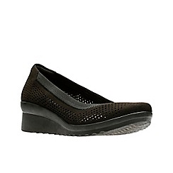 Clarks - Black 'Caddell Trail' mid wedge heel shoes