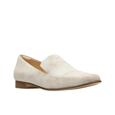 Clarks - Cream leather 'Pure Sense' loafers
