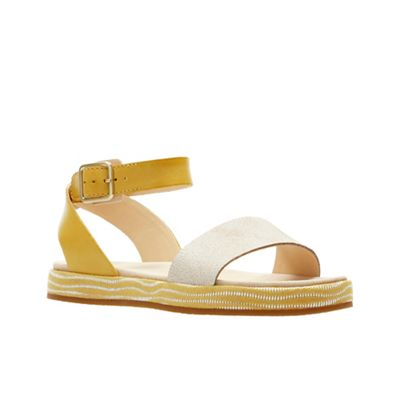 Clarks - Yellow leather 'Botanic Ivy' sandals