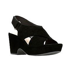 Clarks - Black suede 'Maritsa Lara' mid platform heel peep toe sandals