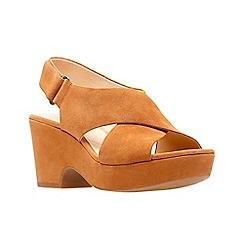 Clarks - Tan suede 'Maritsa Lara' mid platform heel peep toe sandals
