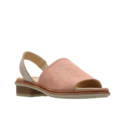 Clarks - Light pink leather 'Trace Stitch' peep toe sandals