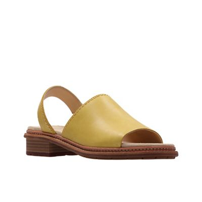 Clarks - Yellow leather 'Trace Stitch' peep toe sandals
