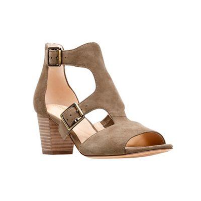 Black suede 'Deloria Kay' block heel peep toe sandals outlet prices footaction online IK2n8bu3qf