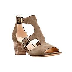 Clarks - Olive green suede 'Deloria Kay' block heel peep toe sandals
