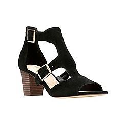010647dedcc Clarks - Black suede  Deloria Kay  block heel peep toe sandals