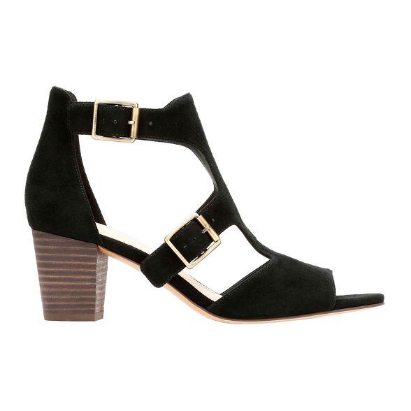 peep Black Clarks heel toe suede sandals Kay' 'Deloria block 1Ypqdpwf