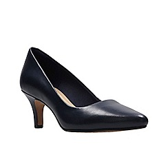 Clarks - Navy blue leather 'Isidora Faye' mid heel court shoes