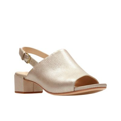Clarks - Gold leather 'Orabella Ivy' mid block heel peep toe sandals