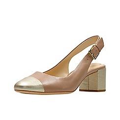 Clarks - Light pink leather 'Orabella Meg' mid block heel slingbacks