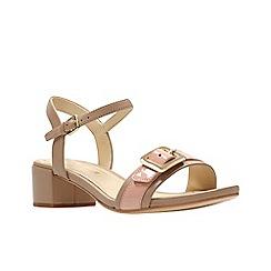 Clarks - Light pink leather 'Orabella Shine' mid block heel sandals