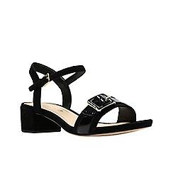 Clarks - Black suede 'Orabella Shine' mid block heel sandals