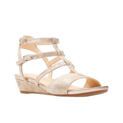 ea5ae6329a02 Clarks Gold suede  Parram Spice  mid wedge heel peep toe sandals ...
